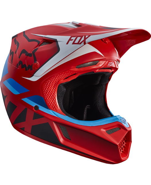 FOX V3 SECA HELMET GREY/RED